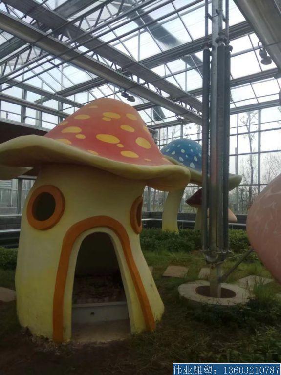 玻璃钢材质蘑菇屋子雕塑1
